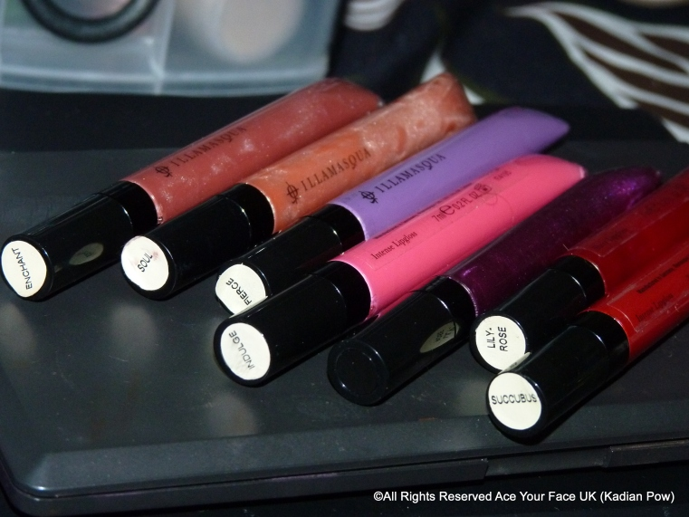 Illamasqua lip glosses at a glance