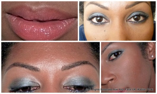 collage of FOTD closeups for smokey grey eye shadow look