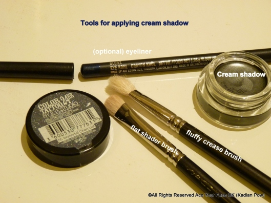 How to wear cream shadow, Tools--fluffly brush, thin-edged shader or liner brush, cream shadow of choice, eyeliner (optional)